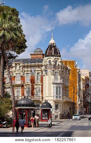 Cartagena, Spain - July 13, 2016: Plaza de La Merced - Palacio de Aguirre - Museo Regional de Arte Moderno. The house was built by the Catalan architect Victor Beltri in 1898-1901
