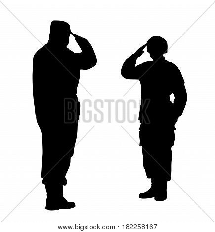 Commander and soldier salute each other. Isolated white background. EPS file available.