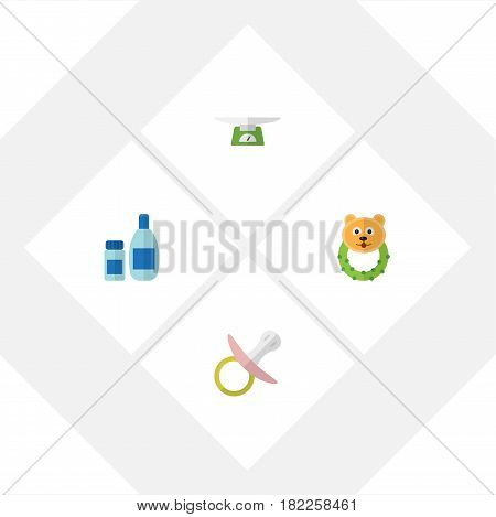 Flat Infant Set Of Nipple, Children Scales, Rattle And Other Vector Objects. Also Includes Cream, Scales, Children Elements.