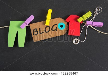Blog inscription written on a paper tag