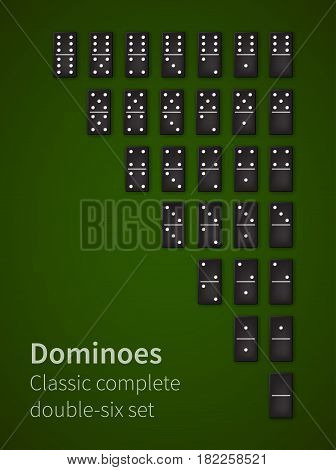 Dominoes black bones double-six set, realistic vector dice illustration icons on casino table background