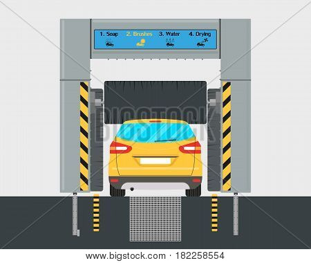 The interior of the automatic car wash with a car inside. Vector illustration