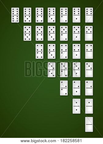Dominoes white bones double-six set, realistic vector dice illustration icons on casino table background