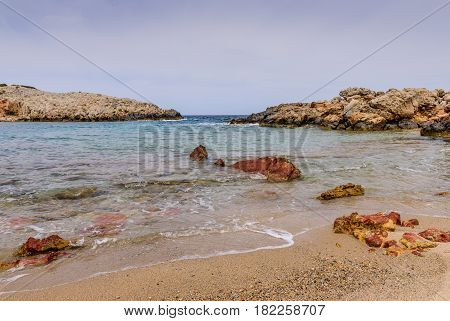 The scenic beach of Limnionas, Kos island, Dodecanese, Greece.