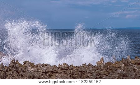 Water Blow on Evening on the Nusa Dua, Bali, Indonesia