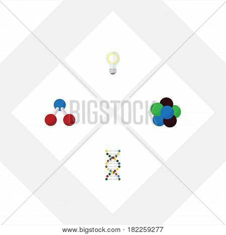 Flat Science Set Of Lightbulb, Nuclear, Proton And Other Vector Objects. Also Includes Molecule, Bulb, Helix Elements.