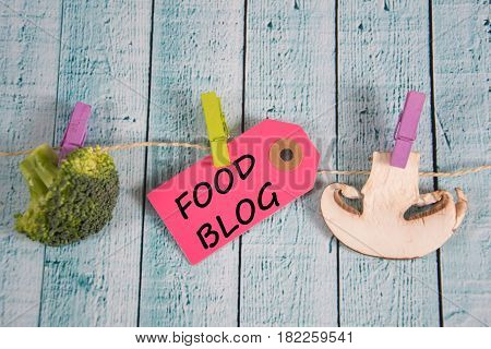 Food Blog  Inscription Written On Paper Tag