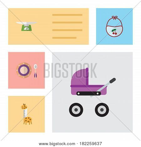 Flat Baby Set Of Children Scales, Pinafore, Toy And Other Vector Objects. Also Includes Children, Plate, Baby Elements.