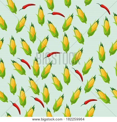 Very high quality original trendy seamless pattern with corn cob and red pepper