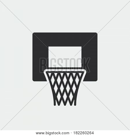 basketball hoop icon isolated on grey background .