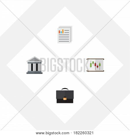 Flat Exchequer Set Of Document, Diagram, Bank And Other Vector Objects. Also Includes Chart, Portfolio, File Elements.