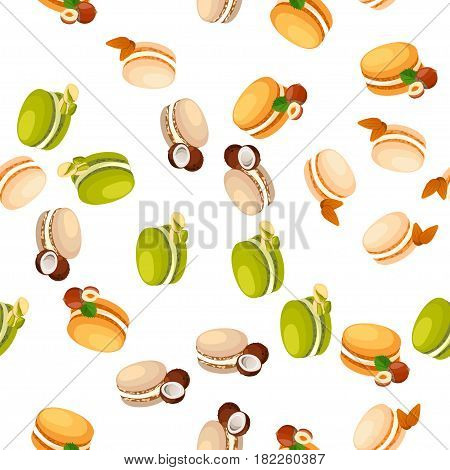 Very high quality original trendy vector seamless pattern with tasty hazelnut, pistachios, coconut and almond macaroon cookie poster
