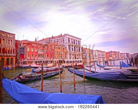 Venice, Italy - Gondolas on Canal Grande in Venice, in a beautiful summer day in Italy