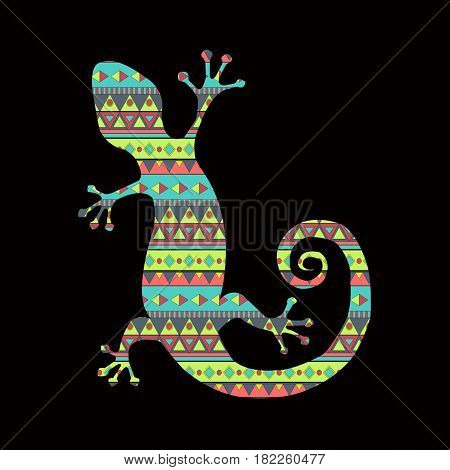 Gecko lizard silhouette with tribal pattern vector illustration