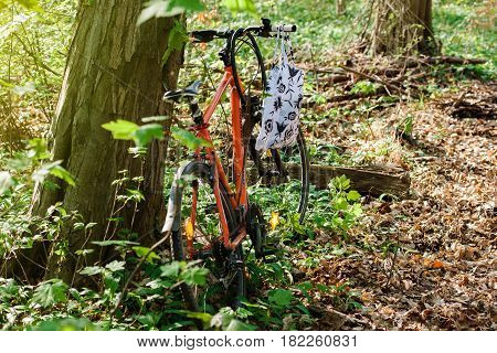 PARIS FRANCE - APR 10 2016: German Winora Bike parked in forest with wild garlic plants growing all over