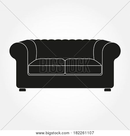 Sofa icon. Vintage and old style sofa. Furniture icon. Vector illustration.