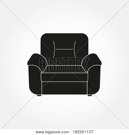 Armchair icon. Furniture icons for living room. Vector illustration of modern armchair.