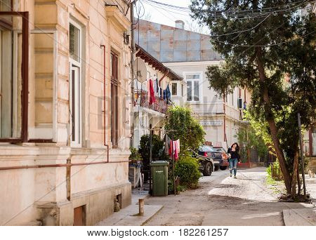 BUCHAREST ROMANIA - APRIL 12016: Bucharest old street - typical old Bucharest architecture with vintagebuilding on a sunny day