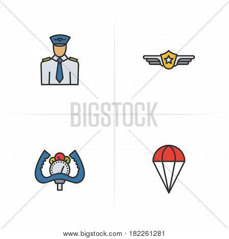 Pilot color icons set. Pilot label, aircraft control wheel, parachute symbol. Logo concepts. Vector isolated illustration