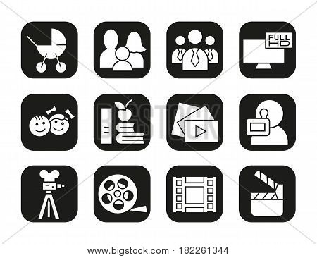 Filming icons set. Movie clapperboard, video film, play button, videographer, children symbol. Vector white silhouettes illustrations in black squares