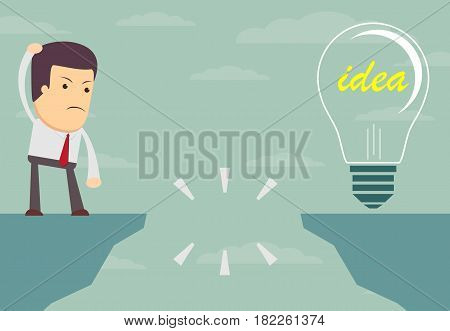 Businessman standing in front of an abyss . Choices and decision concept.