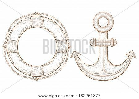 Lifebuoy and anchor - sea symbols. Hand drawn sketch. Vector illustration isolated on white background