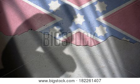 Confederate Memorial Day. Flag on Cracked Plaster Wall
