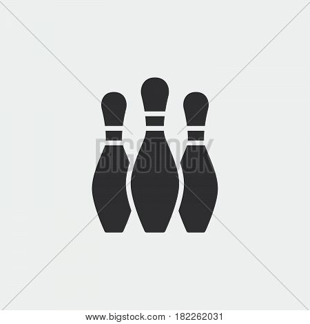 Bowling skittles Icon isolated on grey background .