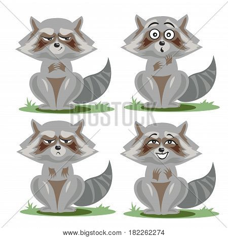 Raccoon collection with different emotions vector art