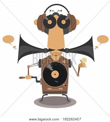 Funny old style jukebox vector illustration isolated