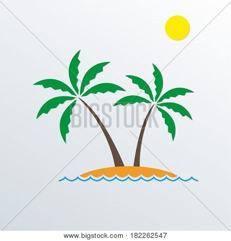 Palm tree. Vector palm trees on the island. Landscape icon.