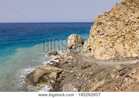 The picturesque coastline and views of the blue sea, Kos island, Dodecanese, Greece.