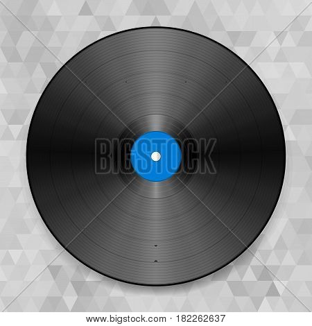Vector illustration of a vinyl record. On the abstract background