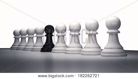 Row of chess pieces of white pawns and one black 3d rendering
