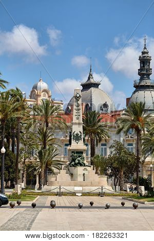 Cartagena, Spain - July 13, 2016: Monument to the Heroes of Cavite and Santiago de Cuba