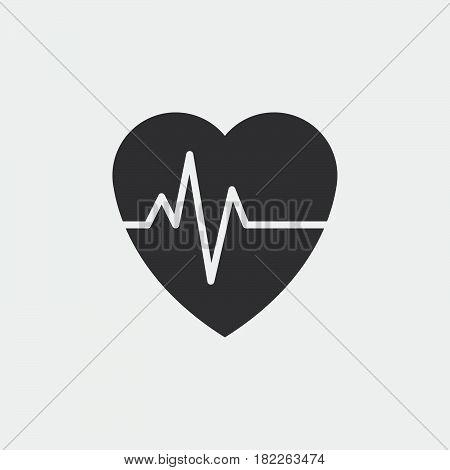 heart beat pulse icon isolated on grey background .isolated on grey background .