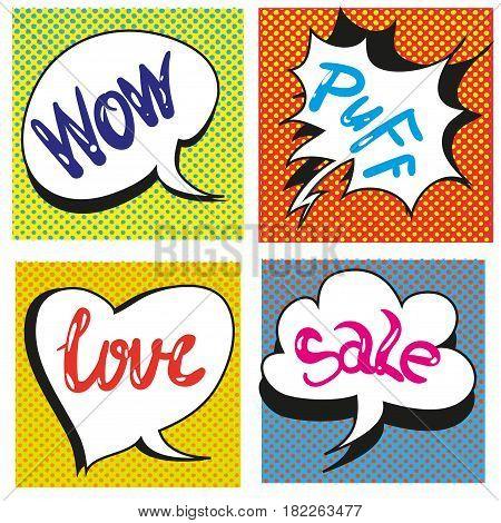 Set of Comic Text, Pop Art style. vector illustration