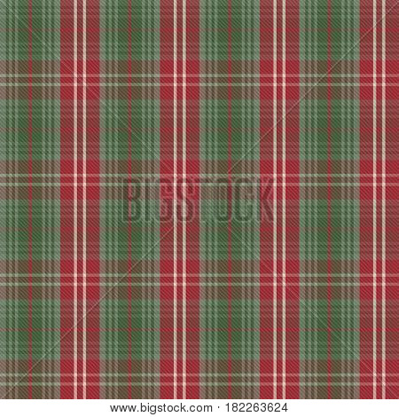 Tartan check plaid texture seamless pattern in red and green. Vector illustration