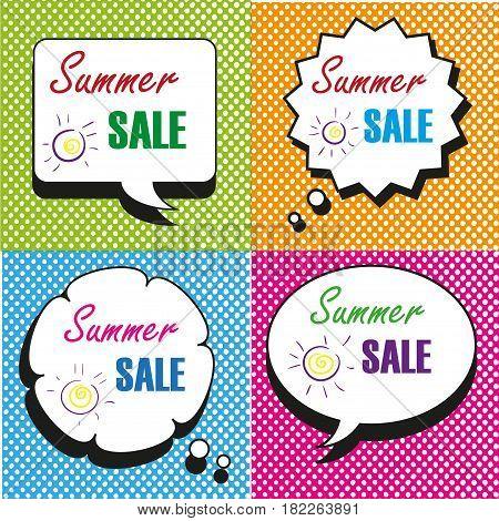 Summer Sale speech bubbles collection vector art