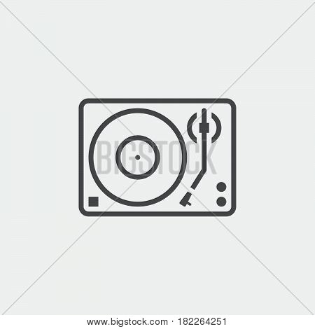 Turntable line isolated on grey background .