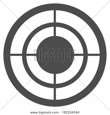 Target vector icon. Illustration style is a flat iconic gray symbol on a white background.