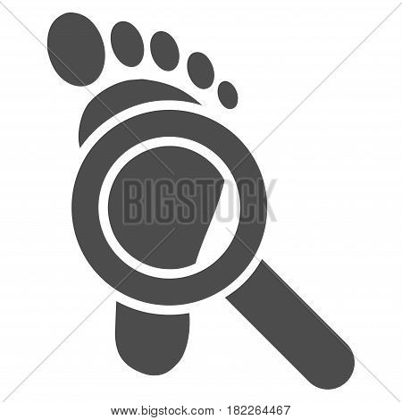 Trace Detective vector icon. Illustration style is a flat iconic gray symbol on a white background.