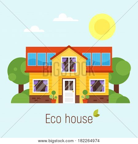 Vector flat style concept of Eco house. Isolated on white background.