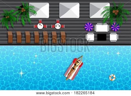 Summer Resort With Girl Tanning In The Sun And Swimming In Pool