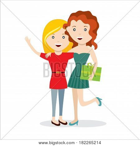 Vector illustration cartoon mother giving her daughter a present. Isolated white background. Flat design. The woman gives the girl a gift box.