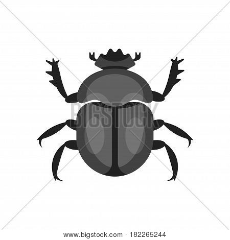 Vector flat style illustration of scarab beetle. Icon for web. Isolated on white background.