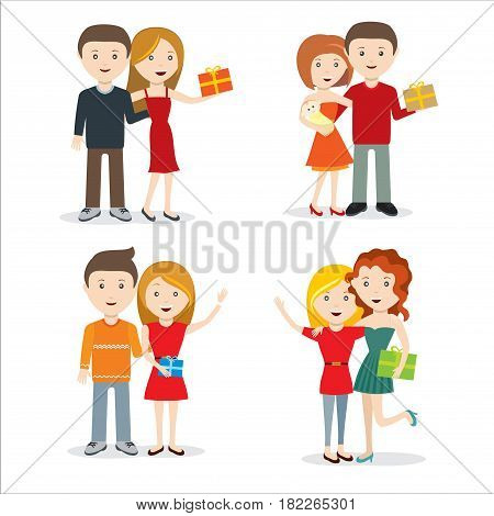 People give gifts, men and women do surprises, give gifts. Gifts vector flat illustration. Girl and boy present gift to another boy. Smiling people have fun with gift Isolated on white background.