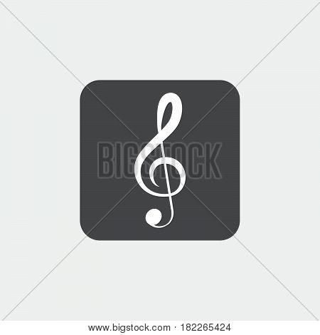 treble clef icon isolated on grey background