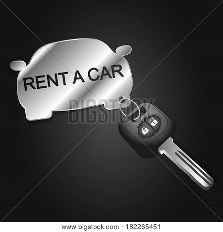 Rent a car symbol for business. The key with the car key fob.
