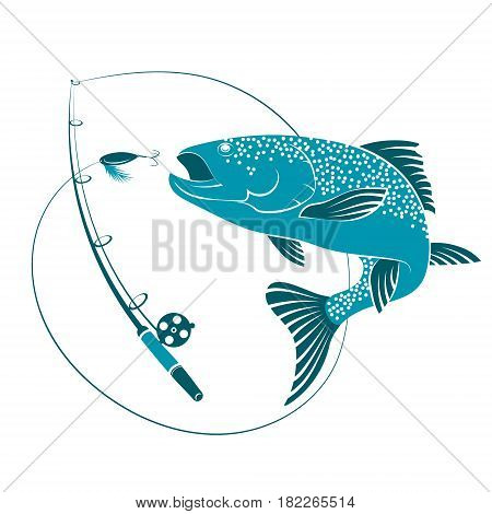Fish jumping for bait and rod. Silhouettes for sport fishing.
